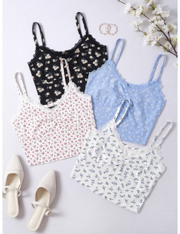 4 Pack Ditsy Floral Lace Trim Cami Top