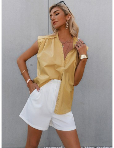 Button Front Solid Top Without Belt