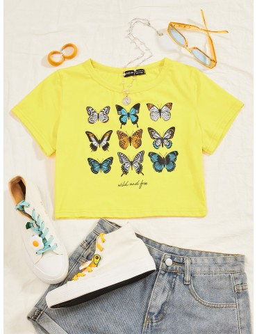 Butterfly & Letter Graphic Crop Tee