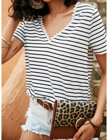 Contrast Lace Striped Tee