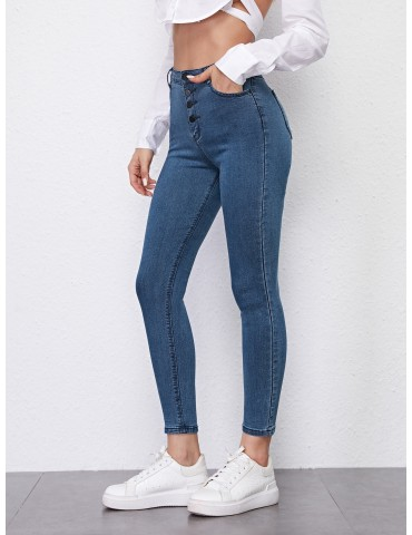 Button Fly High Stretch Skinny Jeans